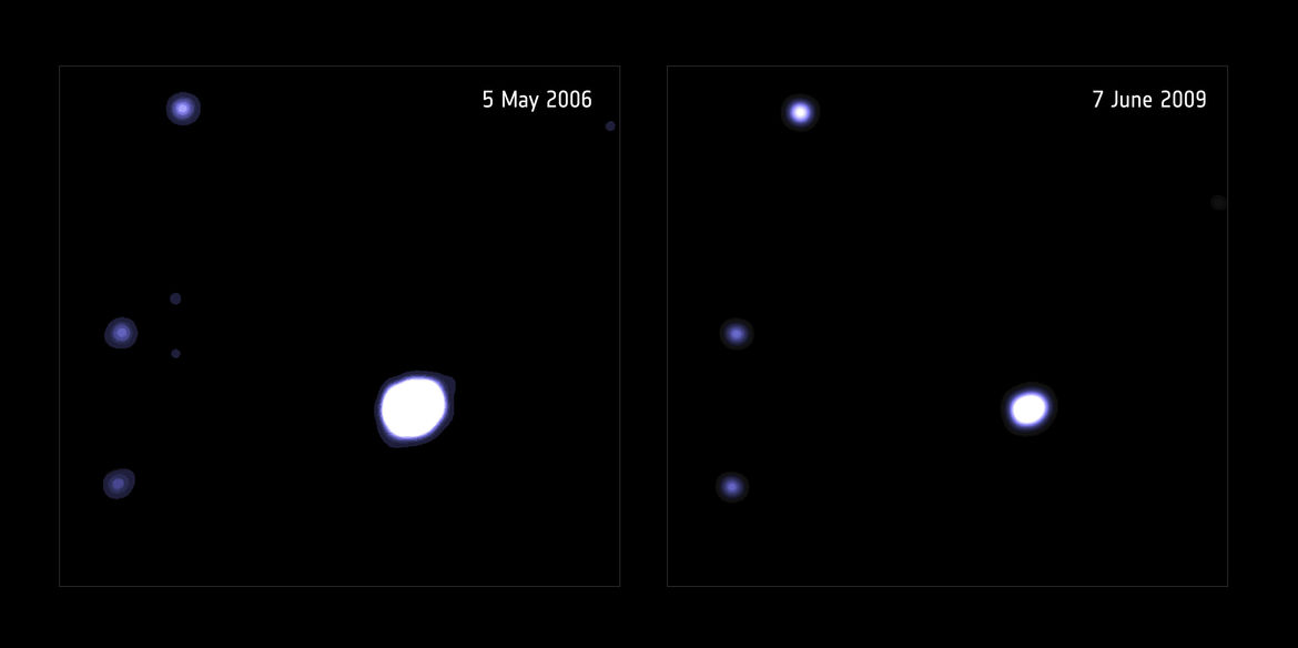 Two X-ray observations of the tidal disruption event taken by XMM-Newton show it dimming between 2006 (left) and 2009 (right). Credit: ESA/XMM-Newton; D. Lin et al (University of New Hampshire, USA). Acknowledgement: NASA/CXC