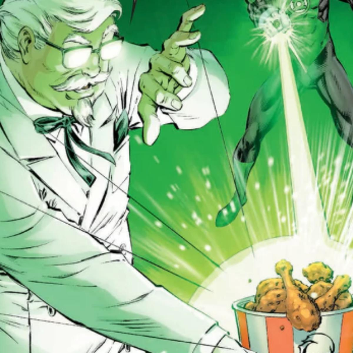 Syfy green lanterncolonel sanders sdcc crossover comic bite into this extra crispy green lanterncolonel sanders crossover comic thecheapjerseys Choice Image