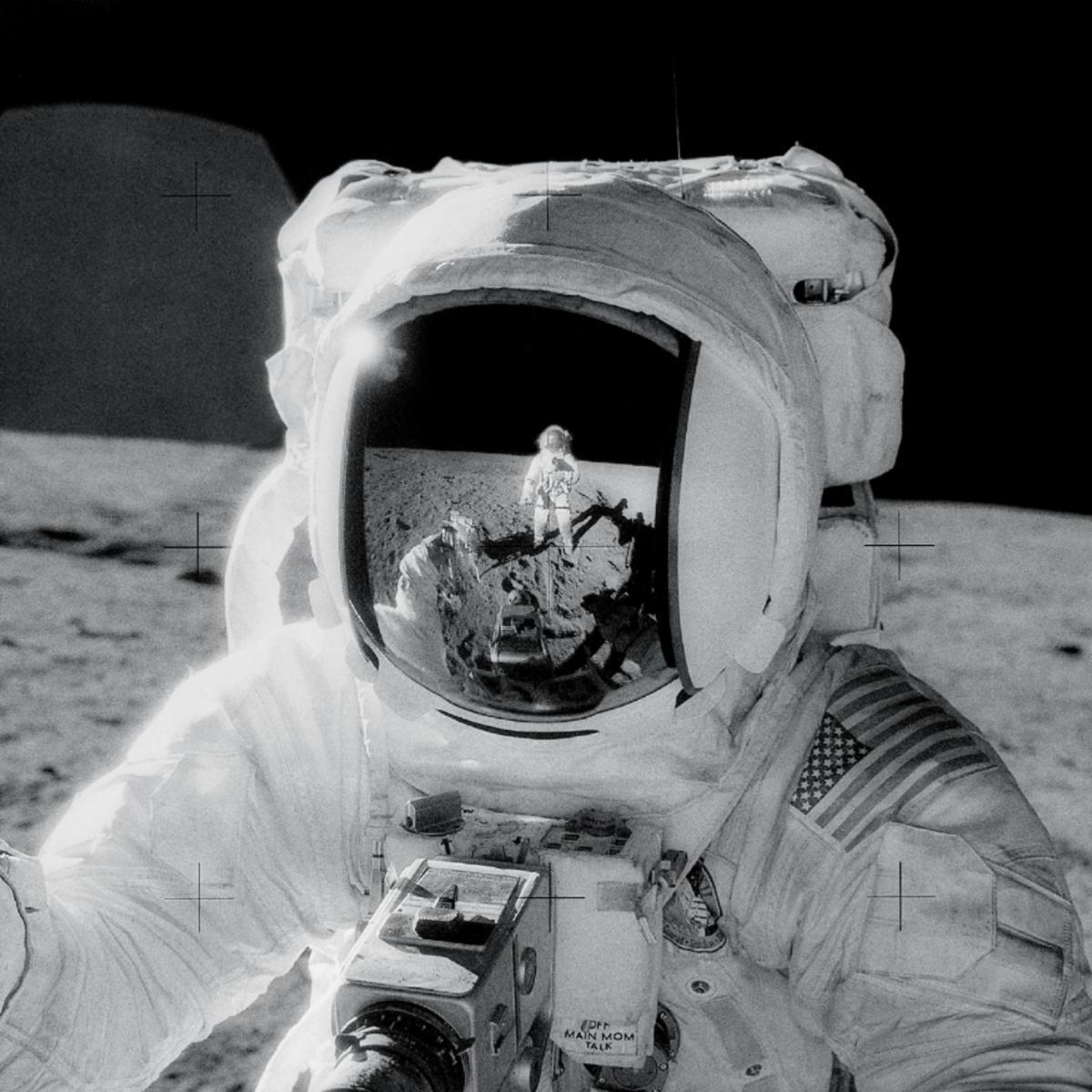 NASA image of astronaut on the moon
