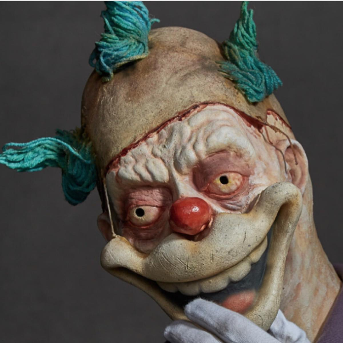 this mutant krusty the clown and twisty the clown mashup will give
