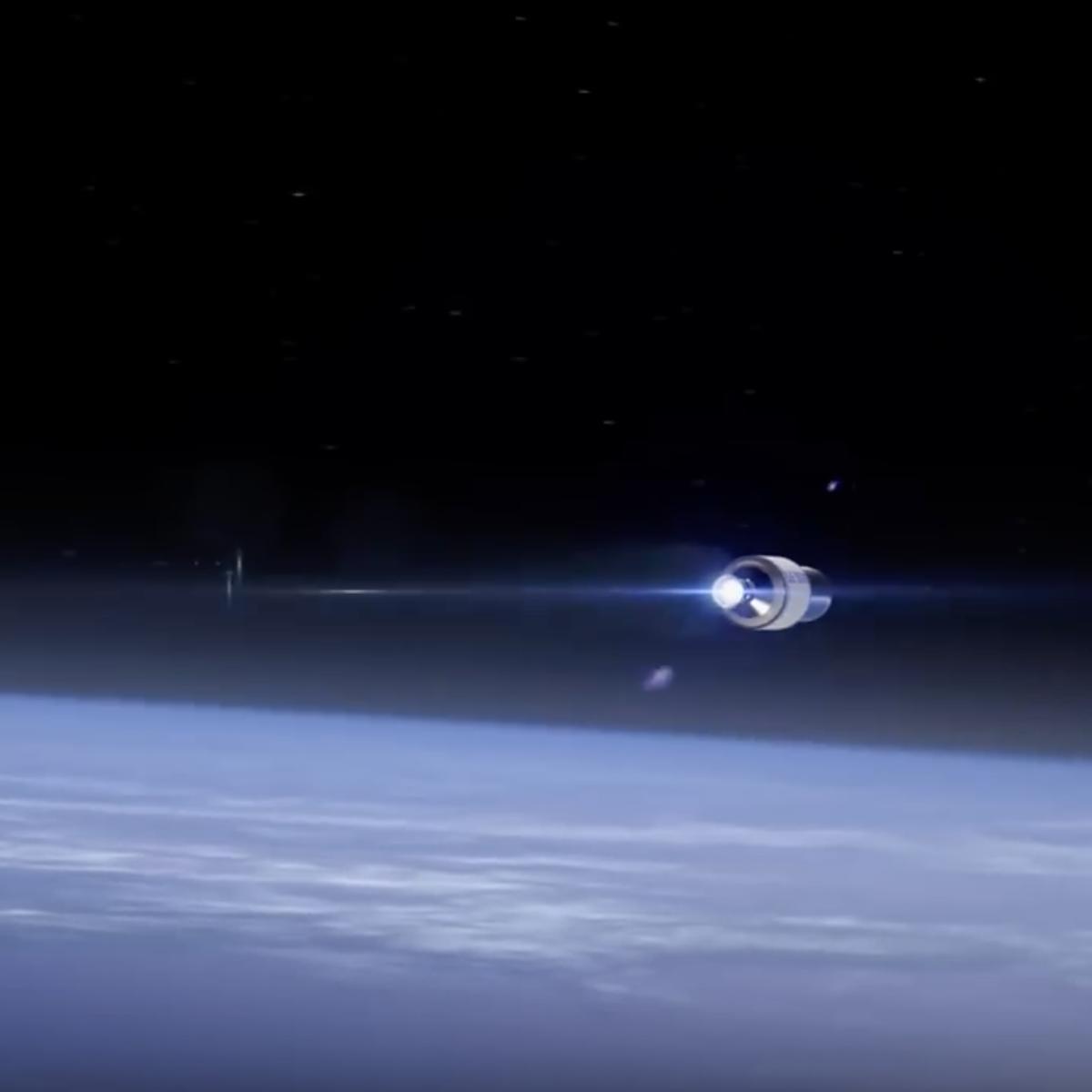 Blue Origin image of spacecraft above Earth