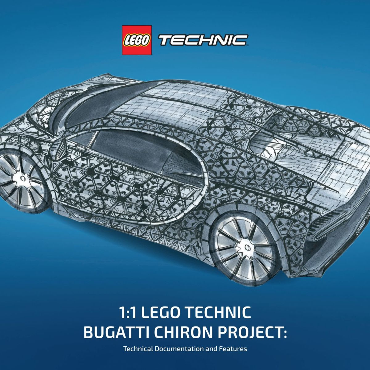 Size LEGO Technic Bugatti Chiron actually drives