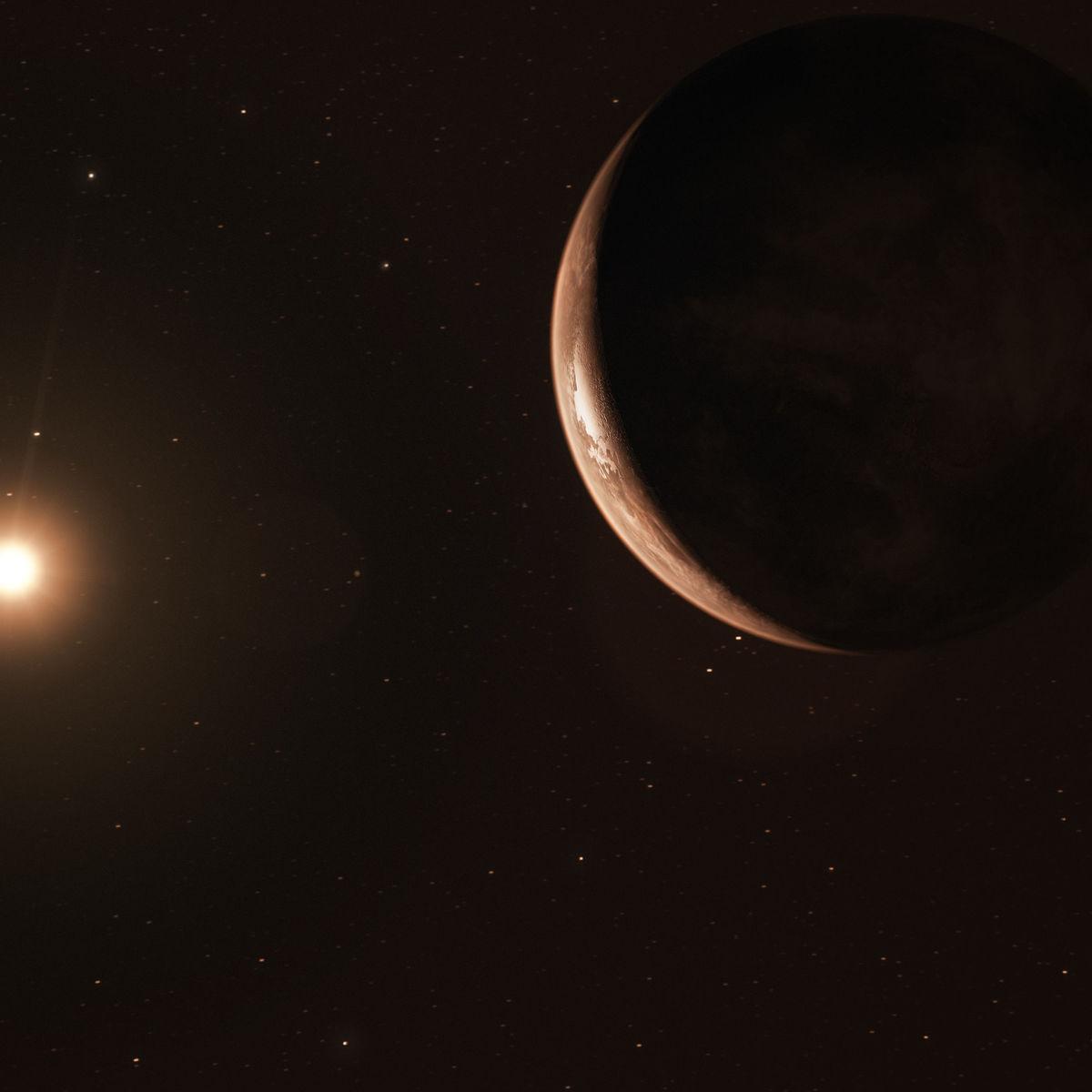 Artwork of a super-Earth, Barnard's Star b, orbiting its red dwarf host star. Credit: ESO/M. Kornmesser