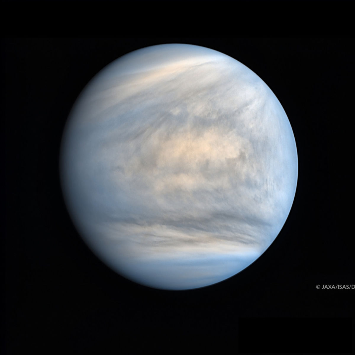 Venus in ultraviolet shows interesting — and difficult to explain — contrasts in the cloud blanket. Credit: JAXA / ISAS / DARTS / Damia Bouic