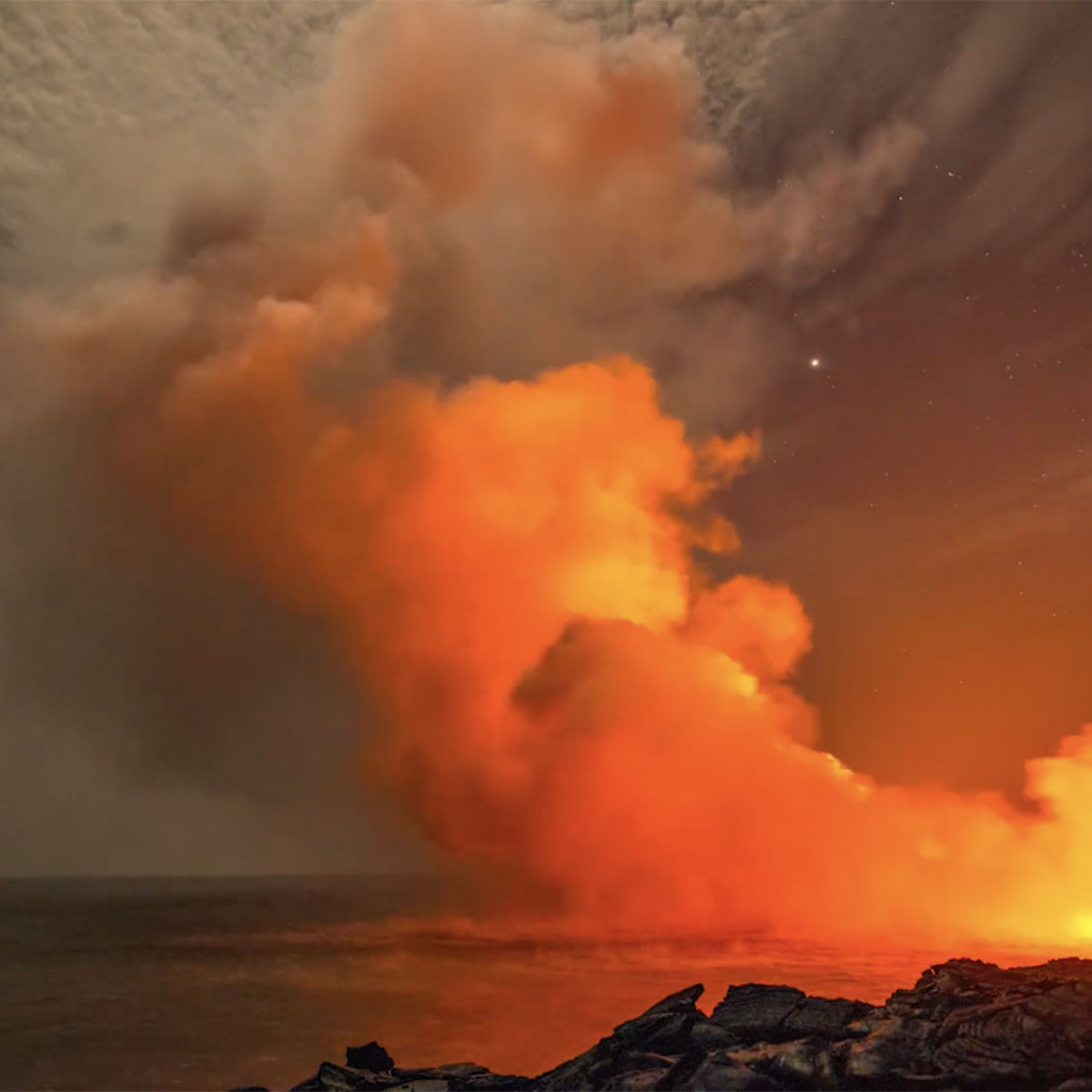The lava flow 61g pours from Kilauea volcano into the Pacific. Credit: Jack Fusco and Mark Jacobs