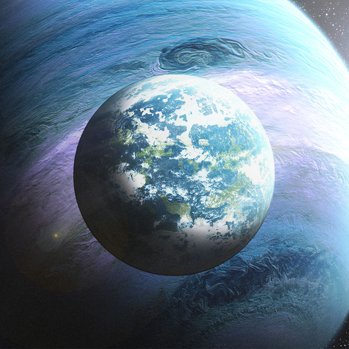 Artwork depicting a gas giant exoplanet with a terrestrial moon. Credit: NASA / Gurra943 on DeviantArt