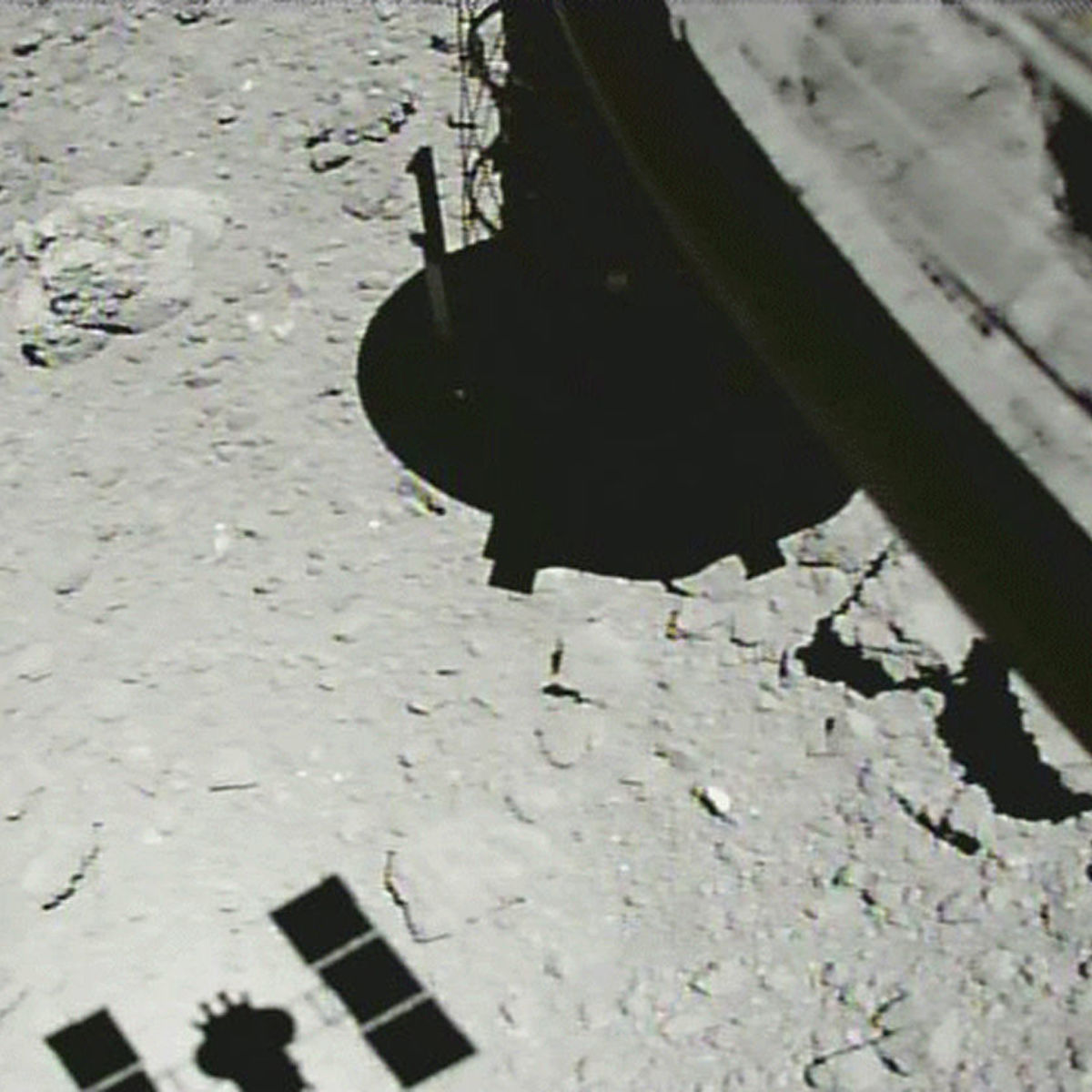 Hayabusa-2 lingers over the asteroid Ryugu, just 21 meters from the surface, in this image taken on October 25, 2018. Credit: JAXA