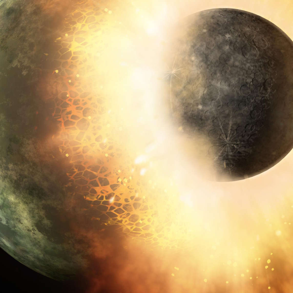 Artwork depicting an apocalyptic event: the collision of two planetary-mass bodies. Credit: NASA/JPL-Caltech