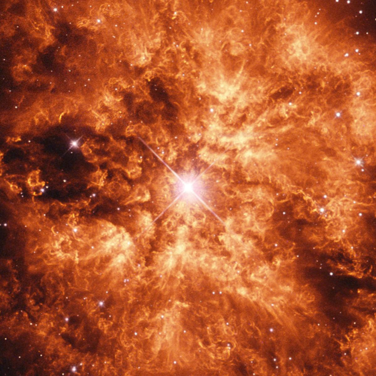 The huge nebula M1-67 around the Wolf-Rayet star WR124. Credit: ESA/Hubble & NASA / Judy Schmidt