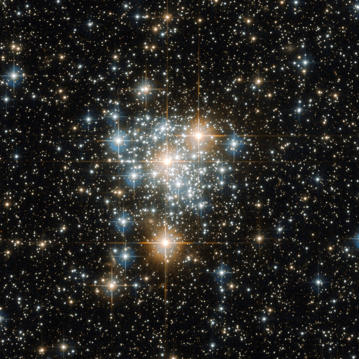The Sun may have been born in an open cluster, a loose collection of stars that has since dissipated, scattering the stars. This image shows NGC 299, an open cluster in a satellite galaxy to our Milky Way. Credit: ESA/Hubble & NASA