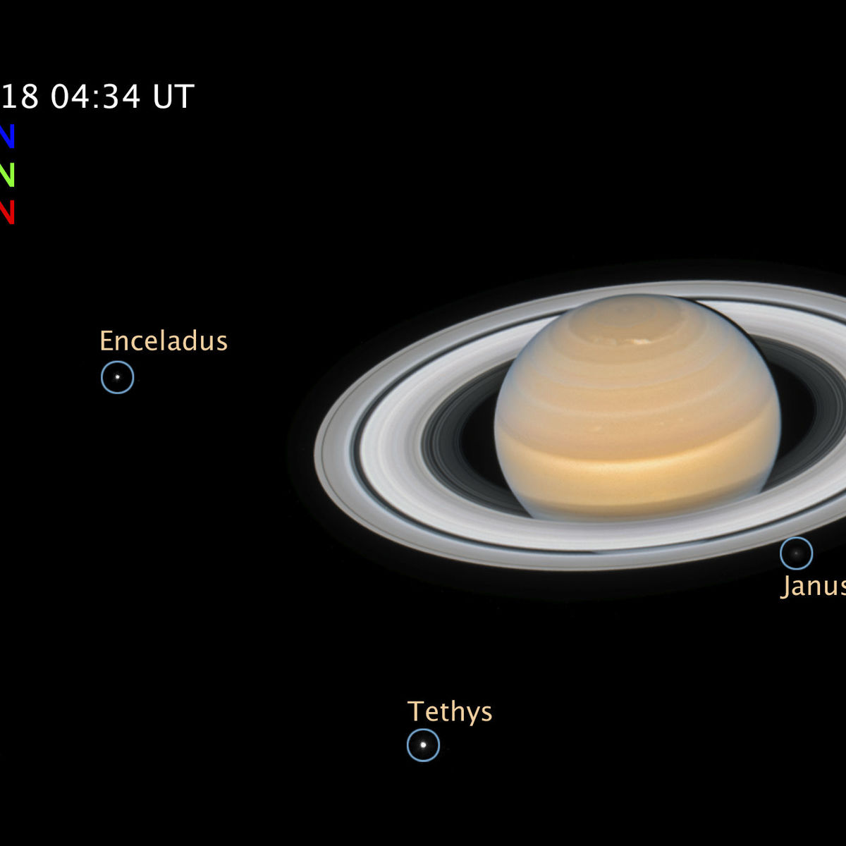 Saturn's moons, labeled in this Hubble image. Credit: NASA, ESA, A. Simon (GSFC) and the OPAL Team, and J. DePasquale (STScI)