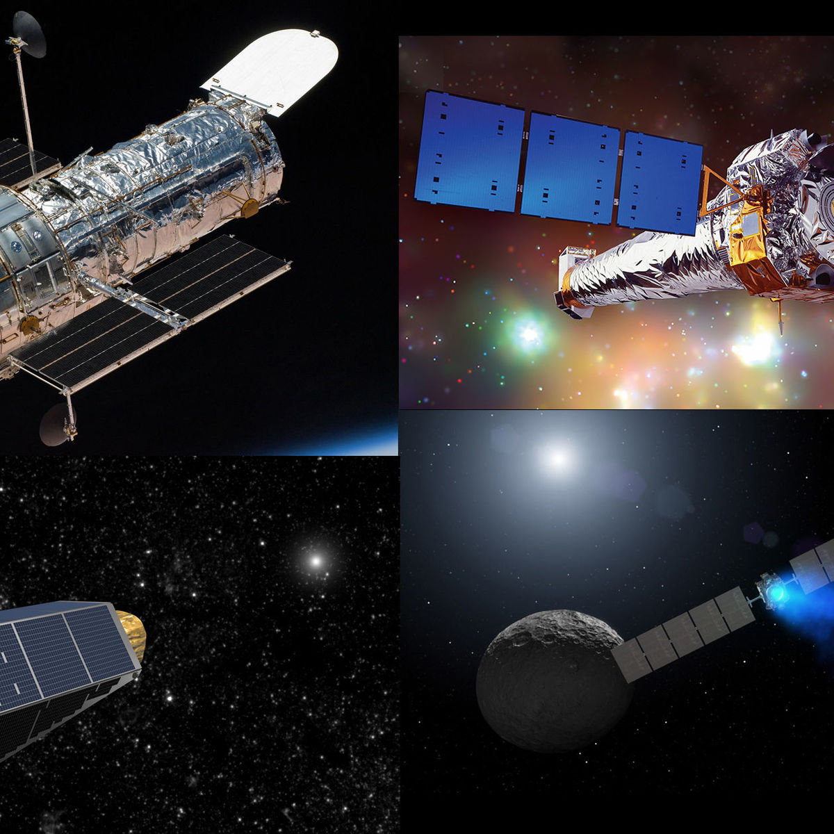 Four great space missions: Hubble (top left), Chandra (top right), Kepler (bottom left), and Dawn (bottom right). Credit (respectively): NASA, NASA/CXC/NGST, NASA, NASA/JPL-Caltech