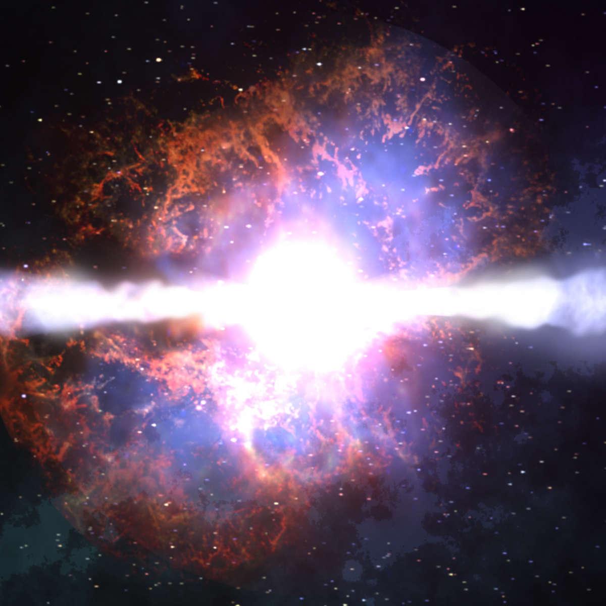 Artwork of a core collapse hypernova, a super-supernova. Credit: NASA/Dana Berry/Skyworks Digital