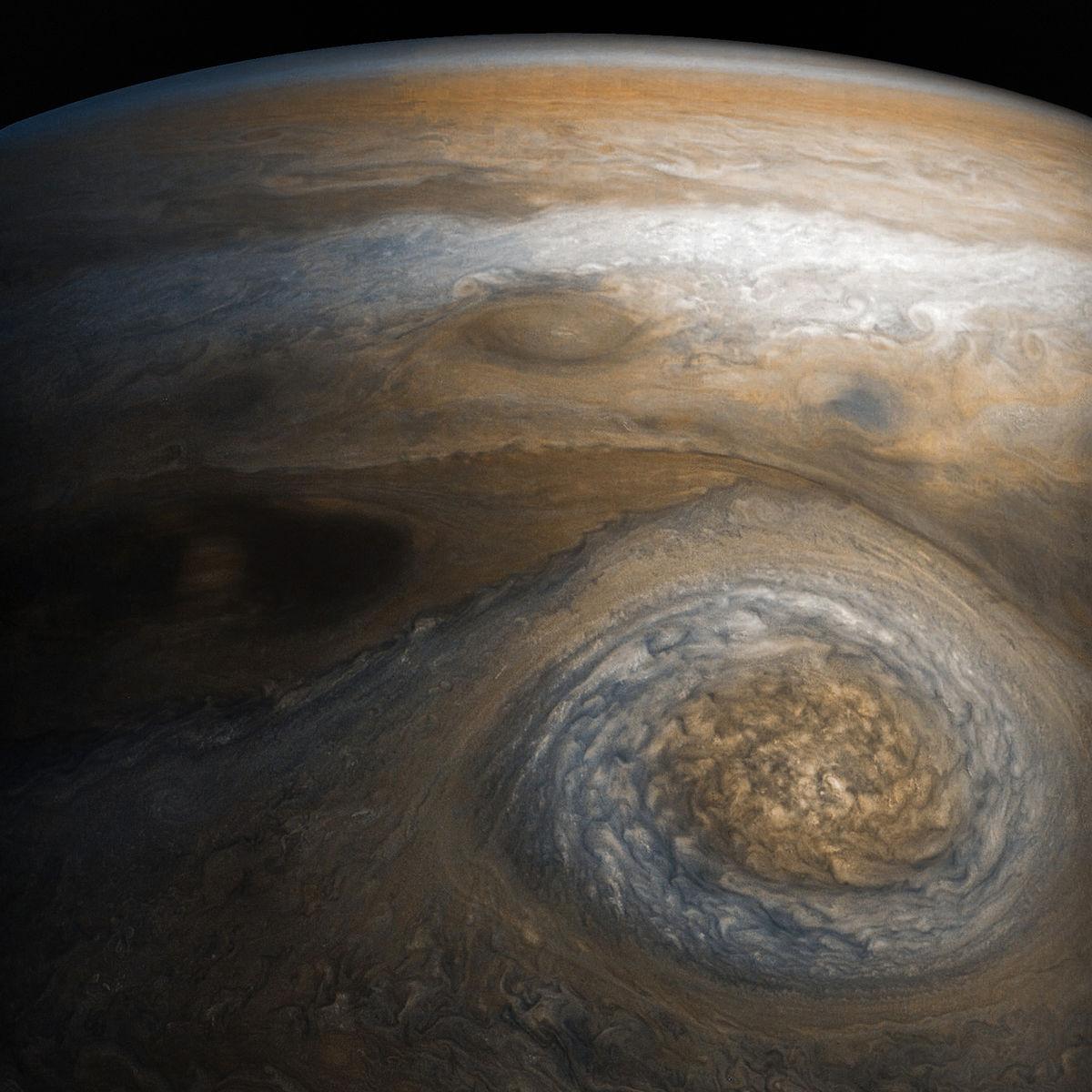 A storm called NN-LRS-1 in Jupiter's northern latitudes, spotted by Juno in July 2017. Credit: NASA/JPL-Caltech/SwRI/MSSS/Gerald Eichstädt/Seán Doran