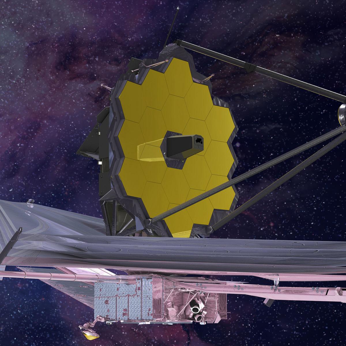 Artwork showing JWST after full deployment 1.5 million km from Earth. Credit: Northrup Grumman