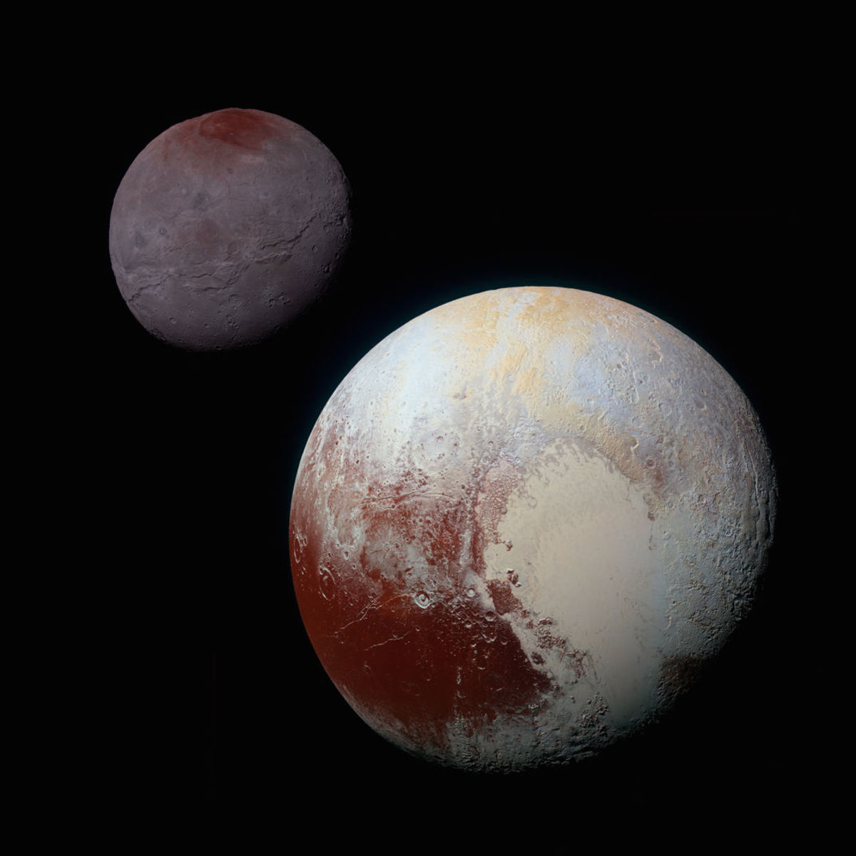 Actual images of Pluto and its large moon Charon, shown to scale and with correct contrast, from New Horizon observations. Credit: NASA/JHUAPL/SwRI