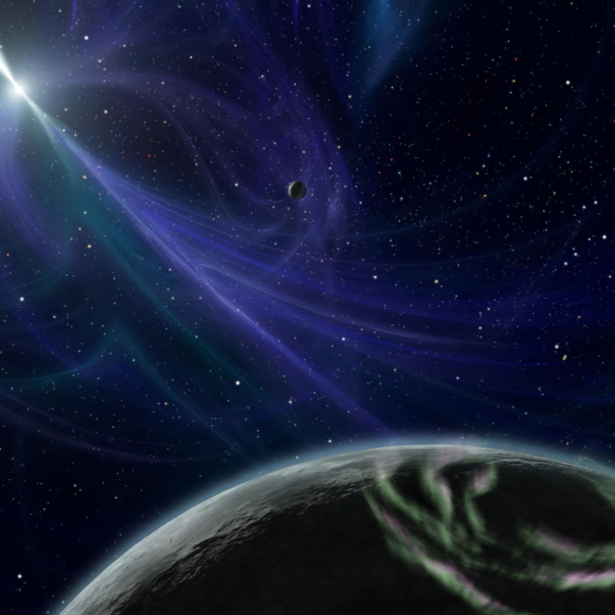 Artwork depicting the three planets orbiting the pulsar PSR B1257_12. Credit: NASA/JPL-Caltech