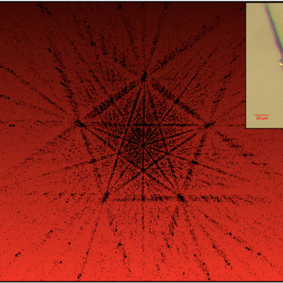 When examining the manufactured quasicrystal using a technique called X-Ray Diffraction, the fivefold symmetry becomes apparent. Inset: The fragment examined is attached to a thin length of carbon fiber. Credit: Asimow et al.