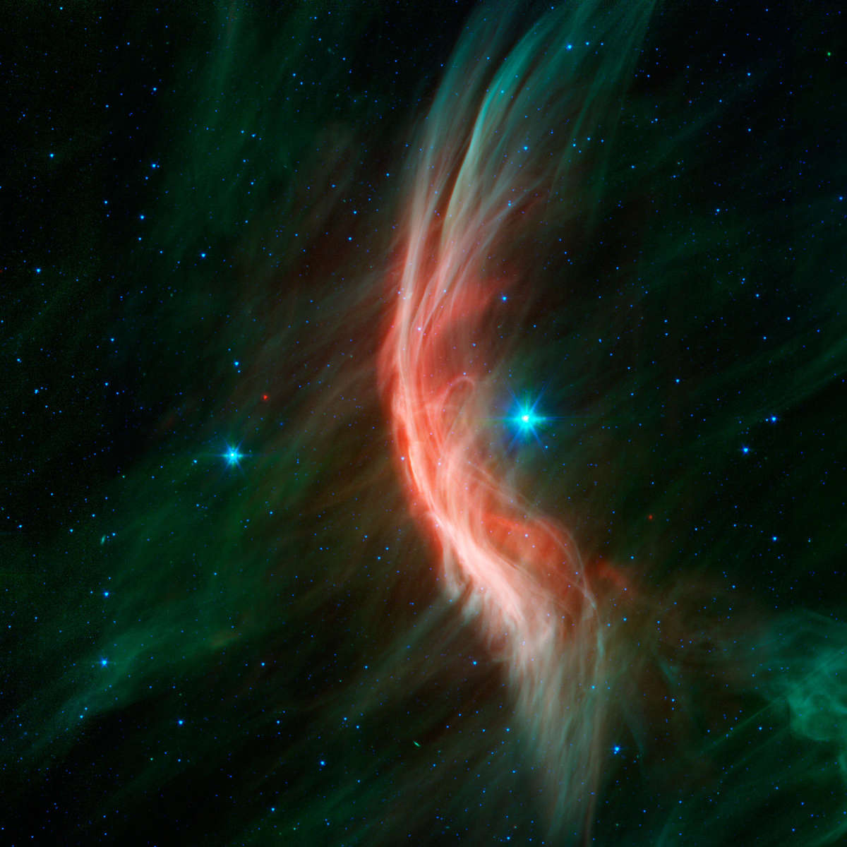 The massive star Zeta Oph making waves. Credit: NASA/JPL-Caltech