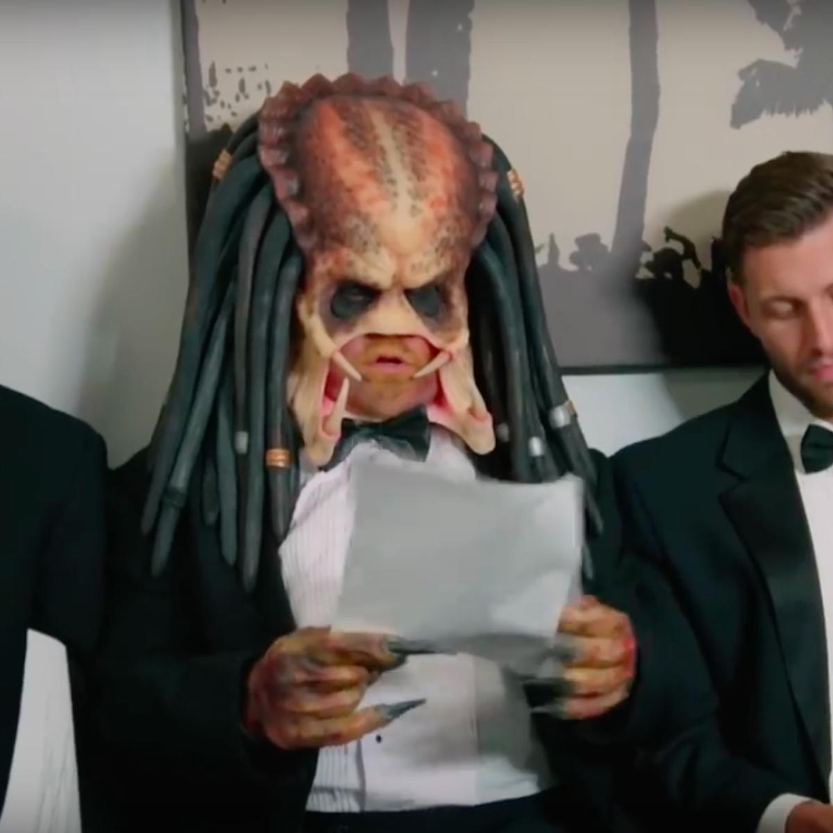 the predator auditions for james bond in latest james corden sketch