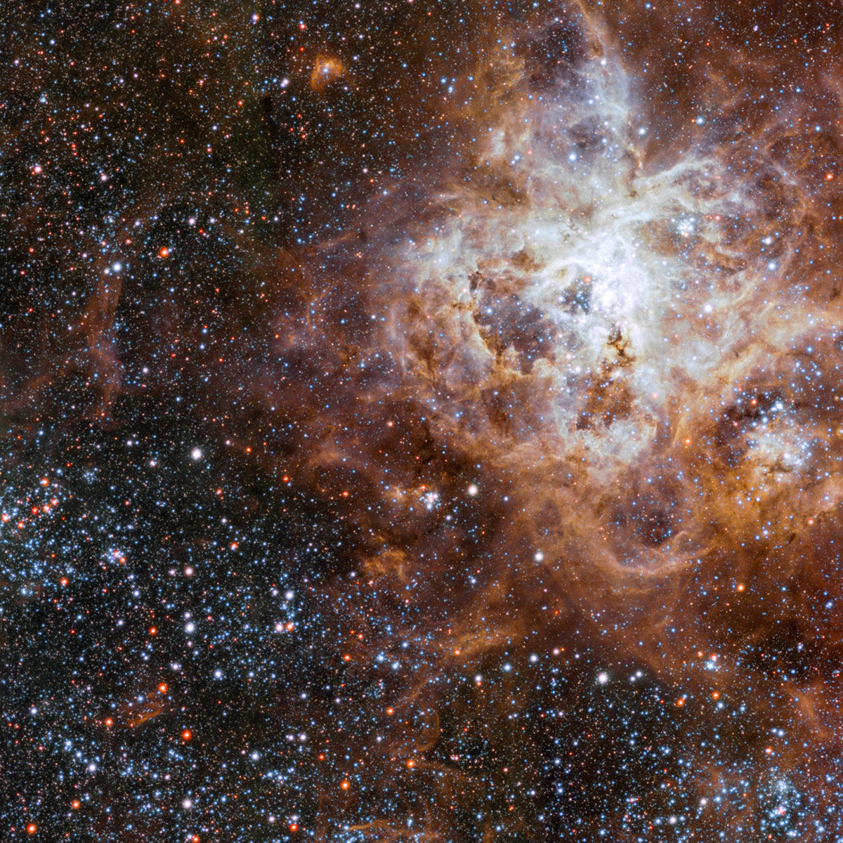 A small section of a huge image of the Tarantula Nebula, a sprawling star-forming gas cloud in a nearby galaxy. Credit: ESO