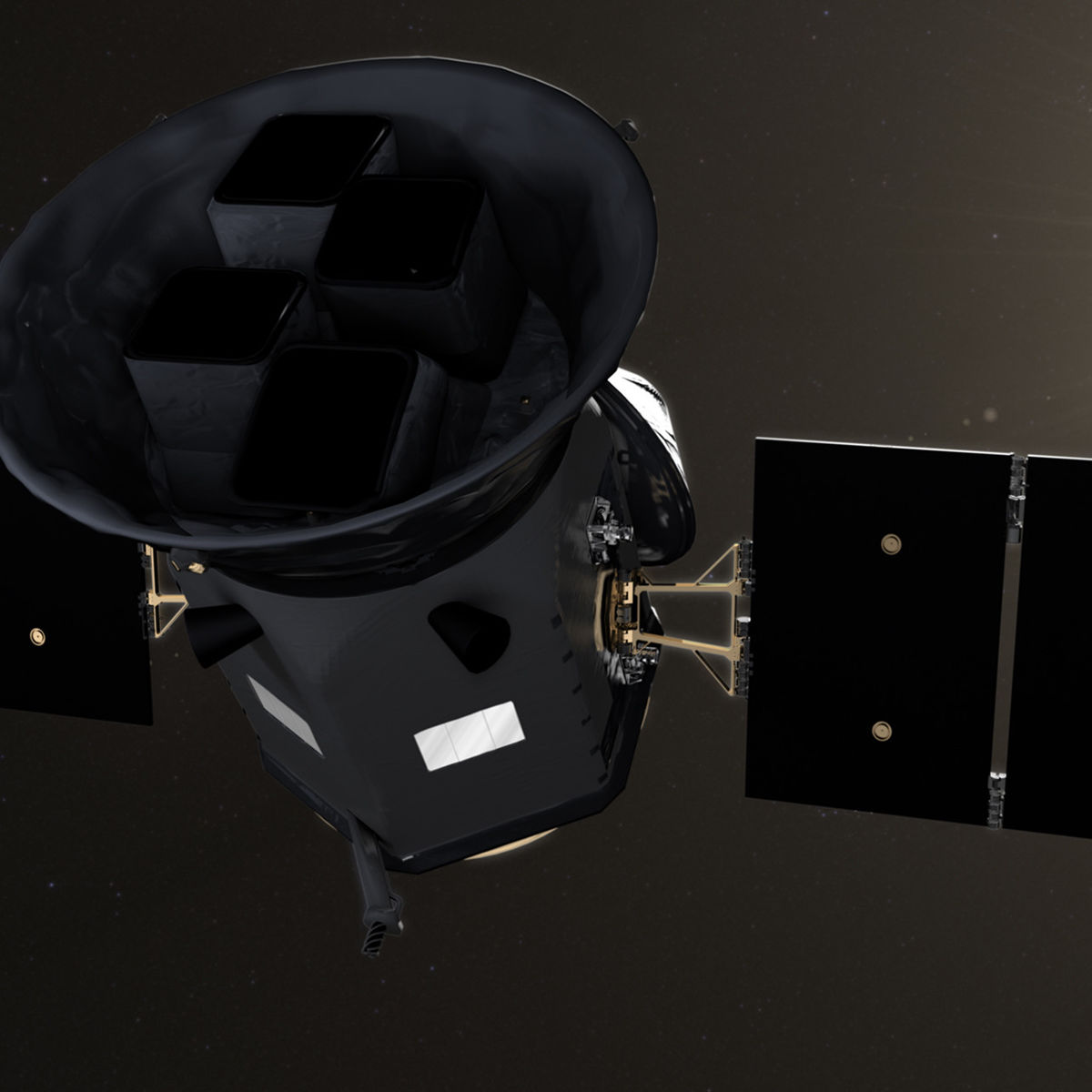 Artwork of the TESS observatory in orbit. Credit: NASA's Goddard Space Flight Center/CI Lab