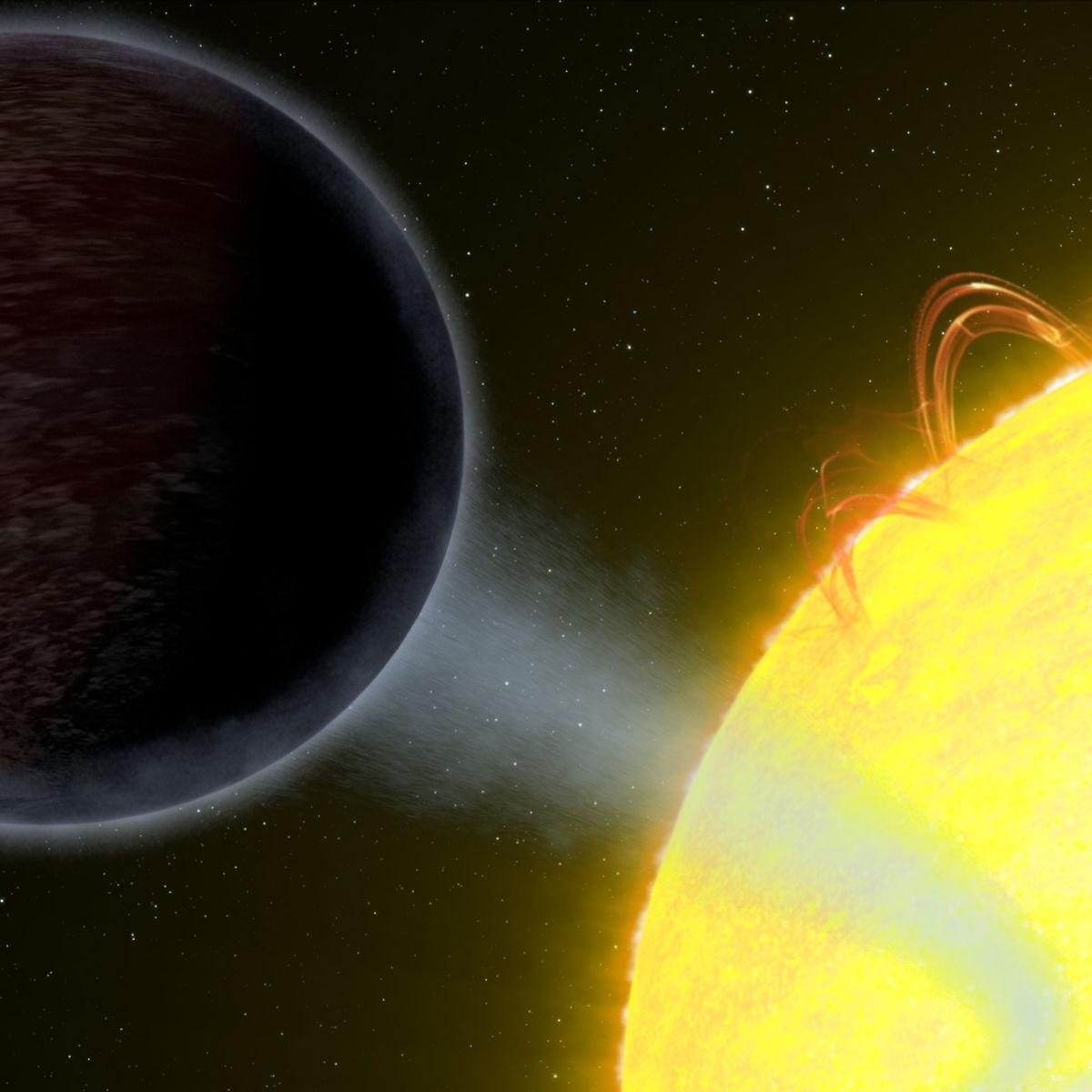 Artwork depicting WASP-12b orbiting its star. Credit: NASA, ESA, and G. Bacon (STScI)