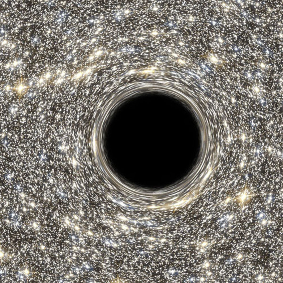 artist concept of a black hole in a starry background