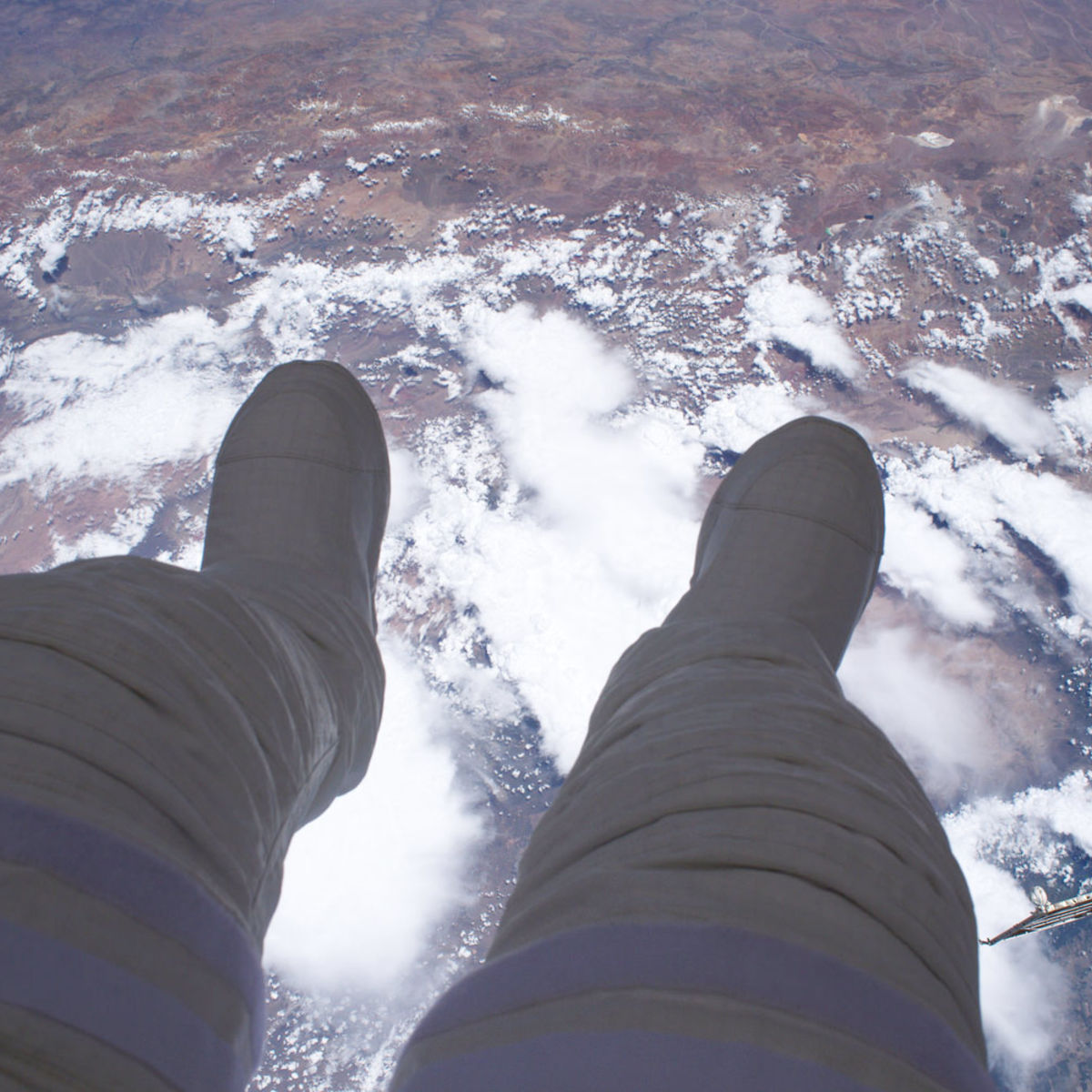 Astronaut Thomas Pesquet floating over the Earth