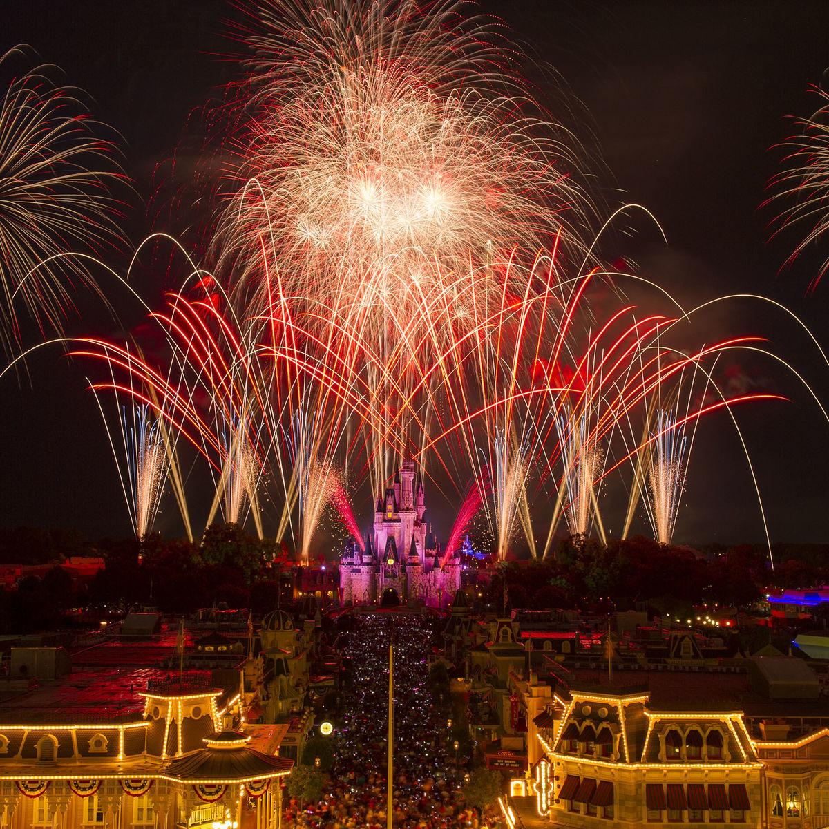 Fireworks over Cinderella Castle at Walt Disney World