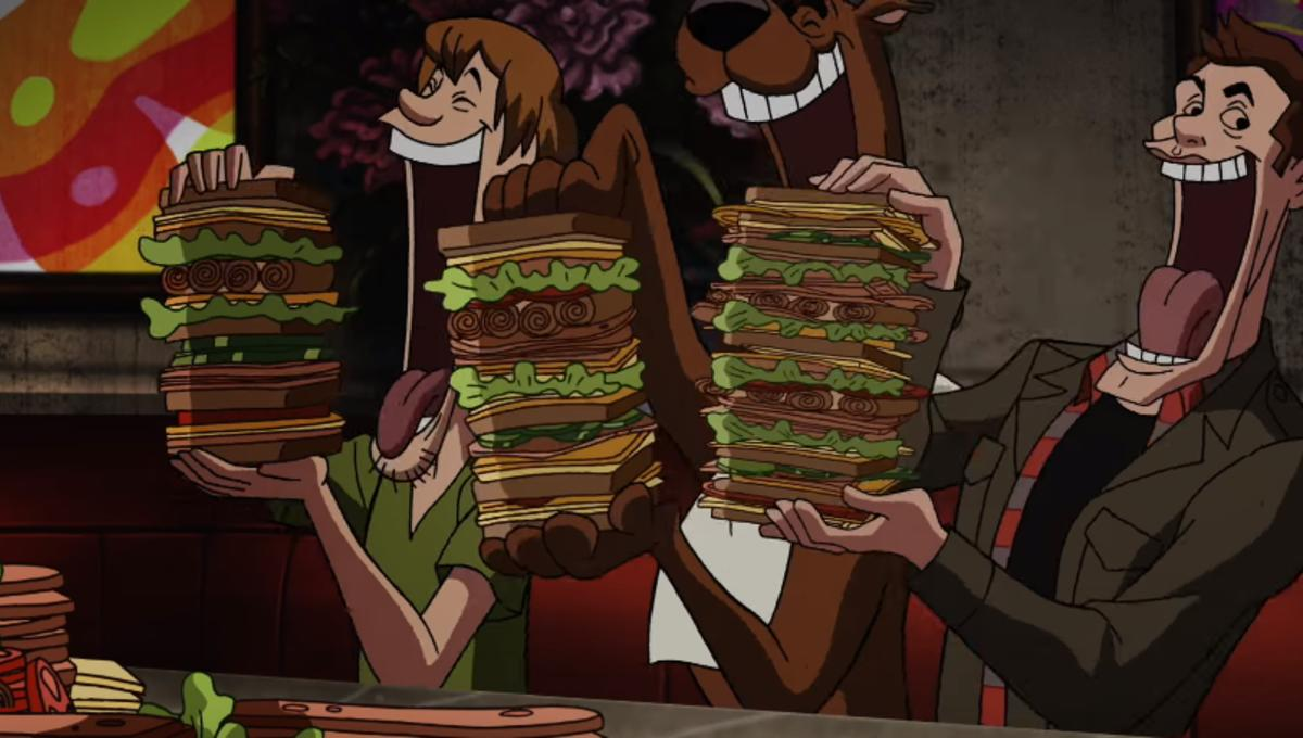 Supernatural's Dean scarfs sandwiches Scooby Doo-style in