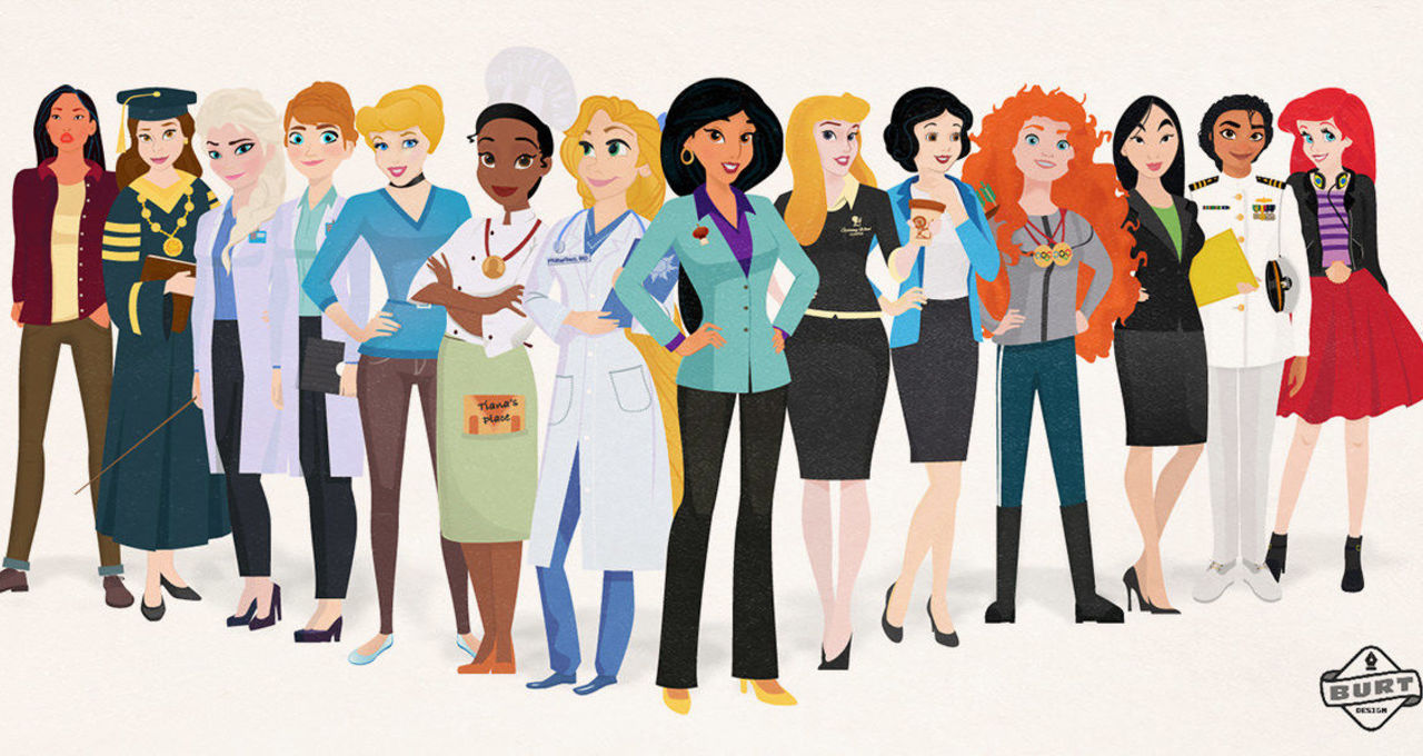 c387fa6dccd Illustrator reimagines Disney princesses as modern career women ...