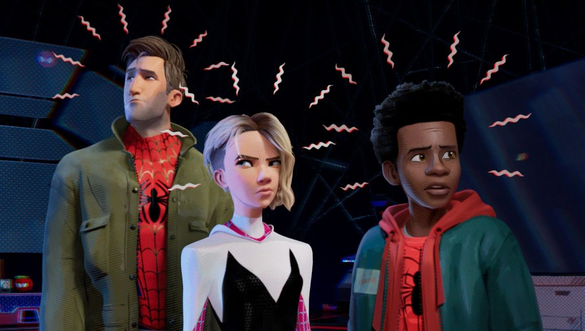 "Peter, Gwen and Miles react to their ""Spidey-sense""."