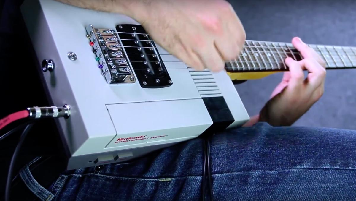 The Super Mario theme played on a guitar made from an NES is pure video game nirvana