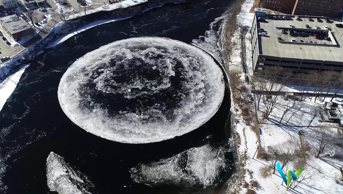 Massive spinning ice disk forms in USA river