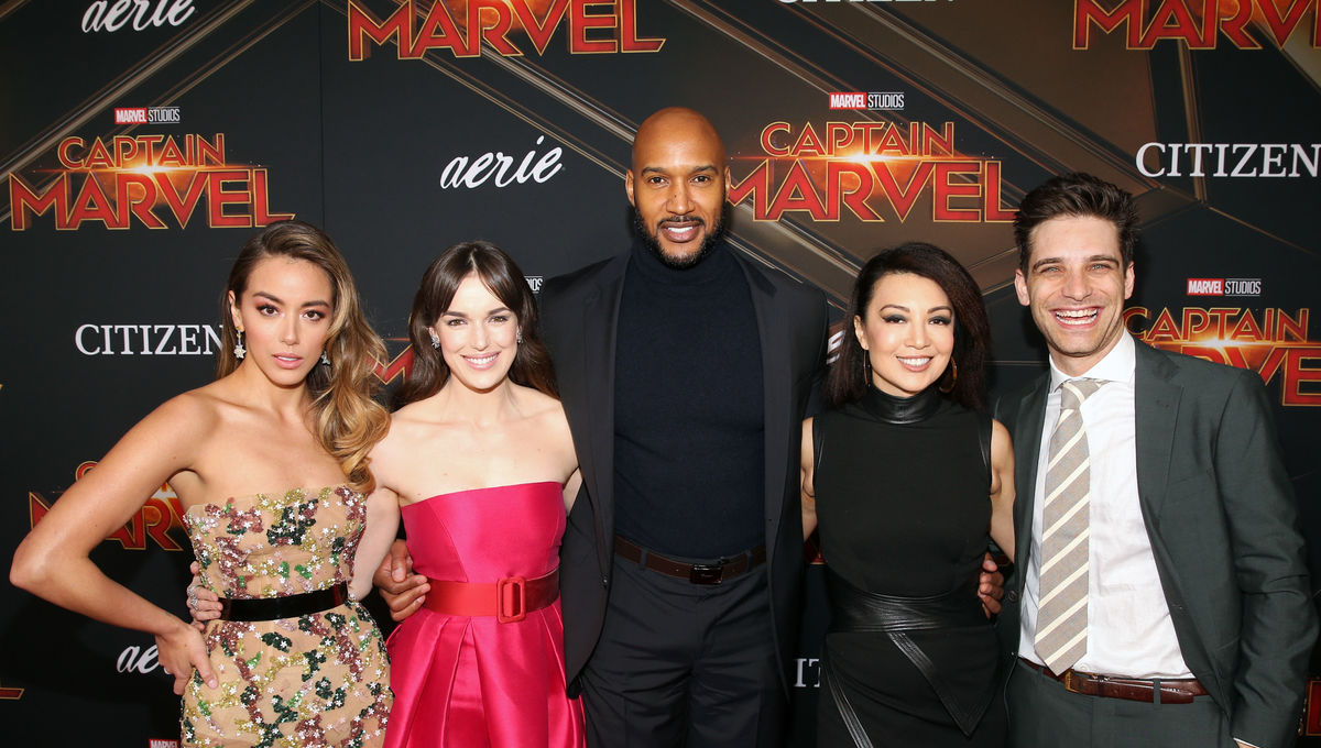 Chloe Bennet, Elizabeth Henstridge, Henry Simmons, Ming-Na Wen, Jeff Ward at the Captain Marvel premiere