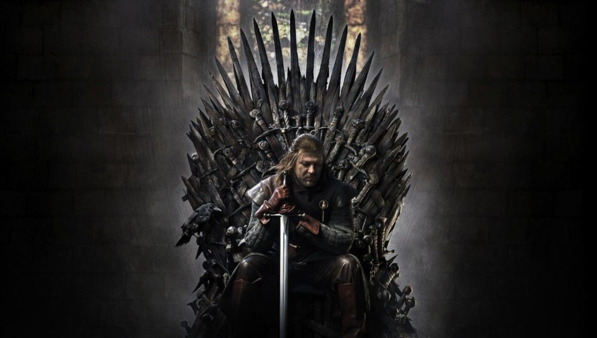 Game of Thrones' Ned Stark sits on the Iron Throne