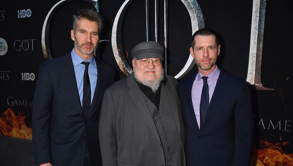 David Benioff, George R.R. Martin, and D.B. Weiss at Thrones S8 premiere