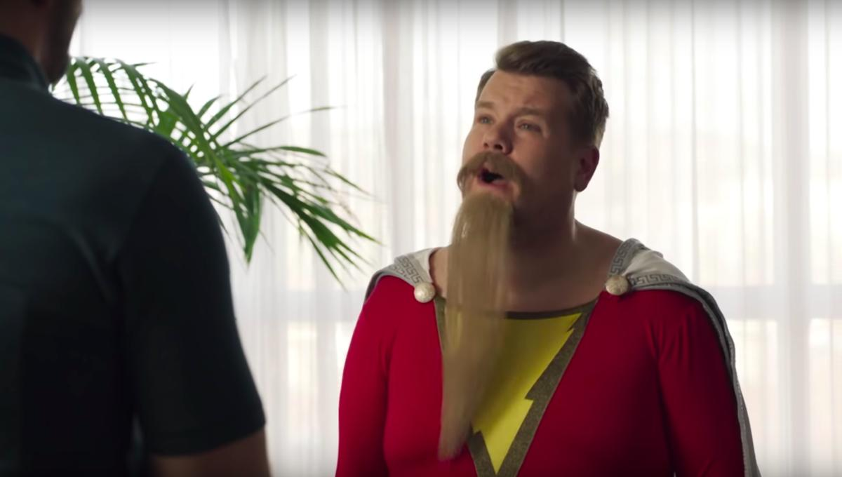 James Corden as Shazam on The Late Late Show