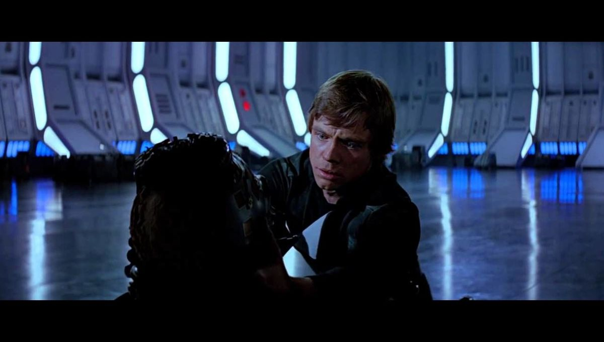 The best scene in Star Wars is Luke unmasking Vader in Return of the Jedi