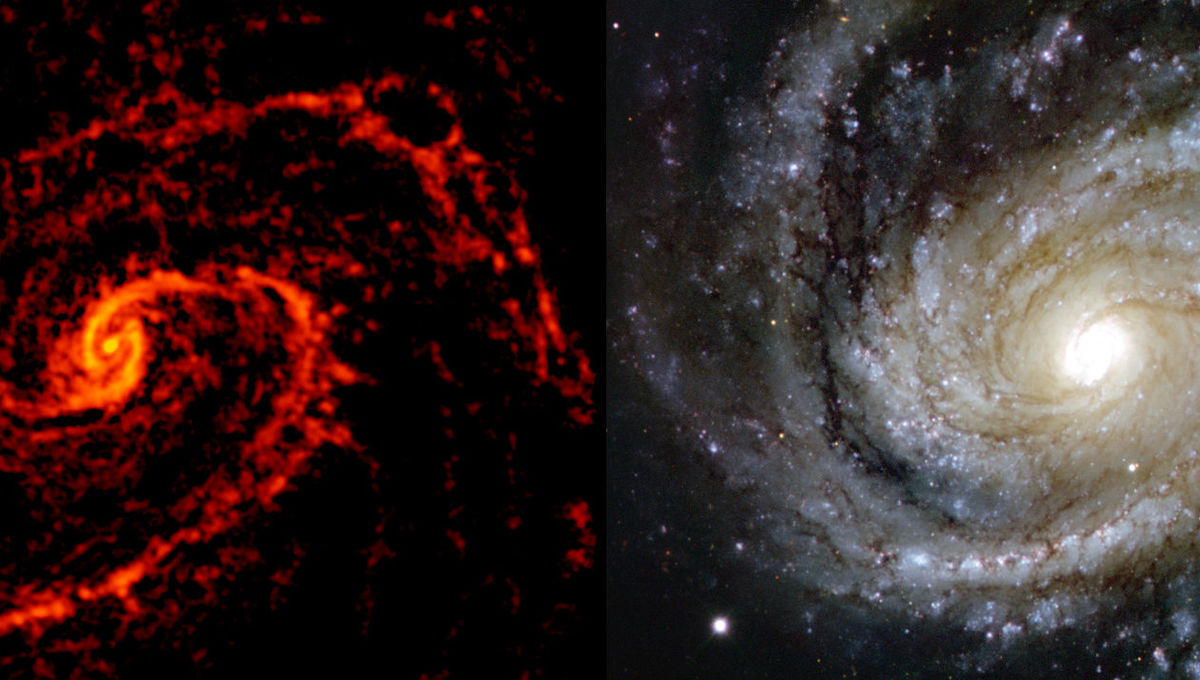 The nearby spiral galaxy M 100 observed by ALMA (left) reveals the locations of star-forming nebulae; compare that to an image taken using the Very Large Telescope (right) in optical light