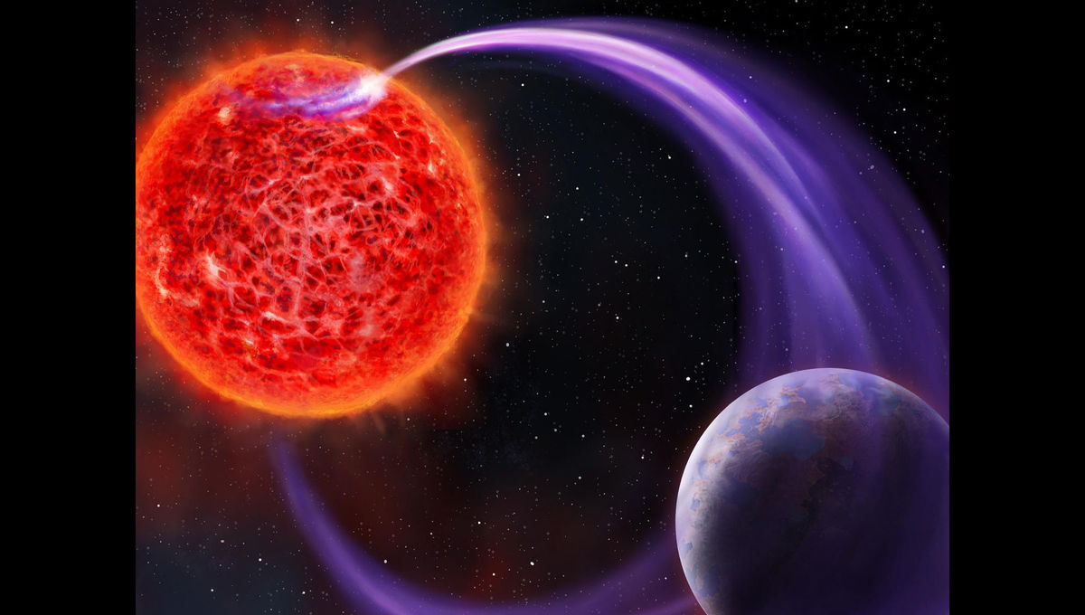 An Earth-sized planet may be igniting an aurora around a nearby red dwarf star