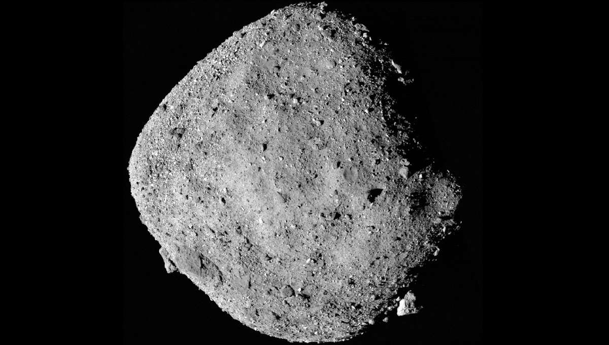 An image from NASA's OSIRIS-REx spacecraft shows Bennu, a 1-km wide asteroid, from a distance of 24 km on Dec. 2, 2018. Credit: NASA/Goddard/University of Arizona