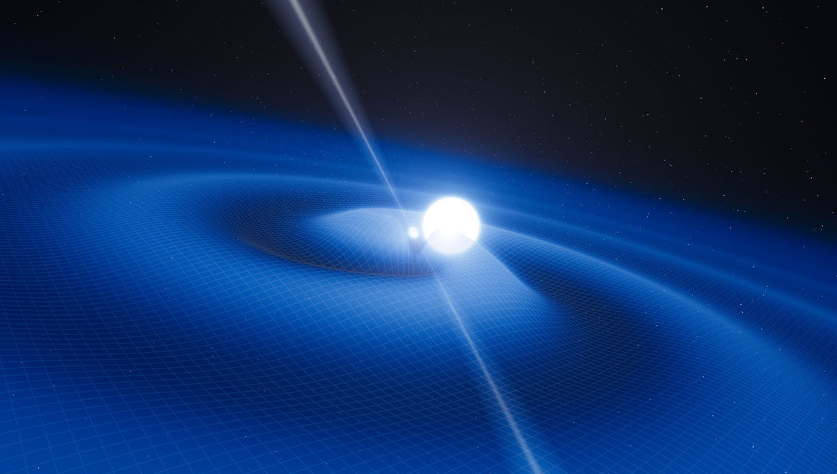 A dead star's spin is dragging the fabric of spacetime along with it