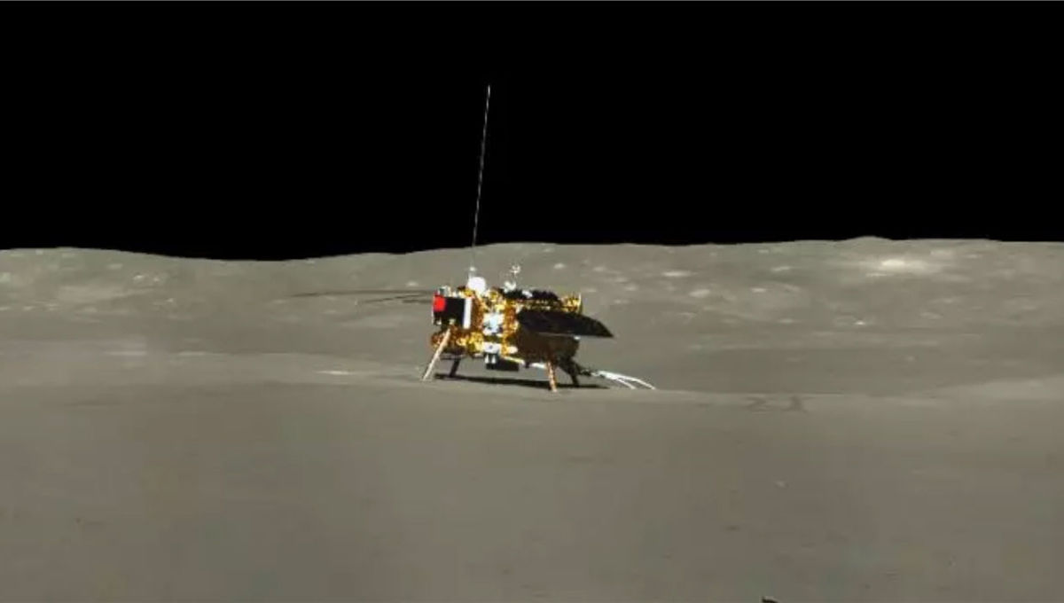The Chinese lander Chang'e-4 as seen by the rover Yutu-2. Credit: CSNA