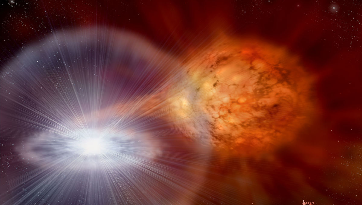 An epically erupting star has carved a truly GIGANTIC hole in space