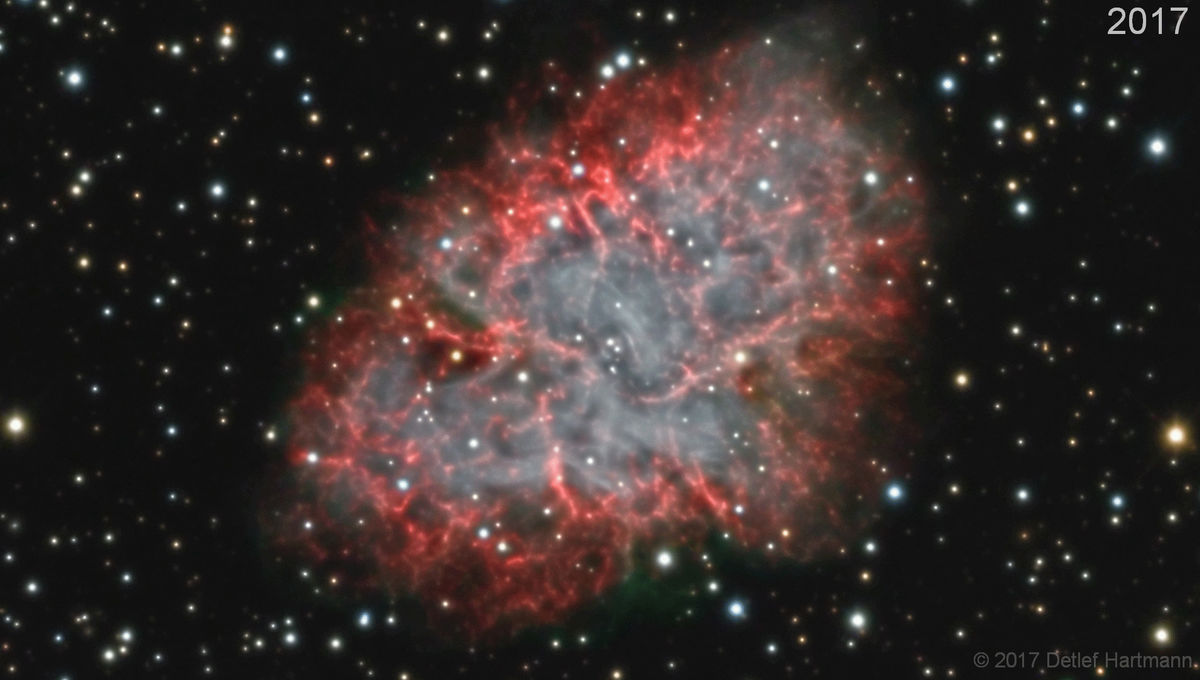 Watch debris from a supernova explosion expand before your eyes!