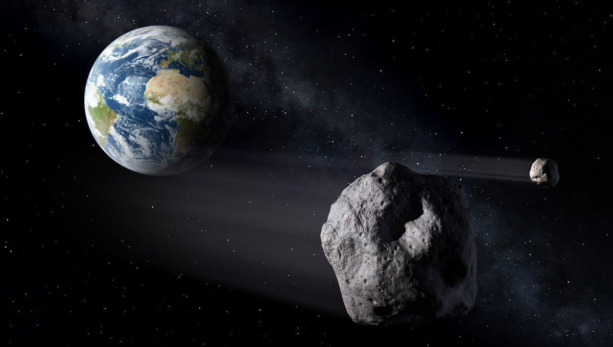 Artwork depicting an asteroid with a moon passing Earth. 31232 Florence passed much farther than depicted here… but it has two moons! Credit: NASA