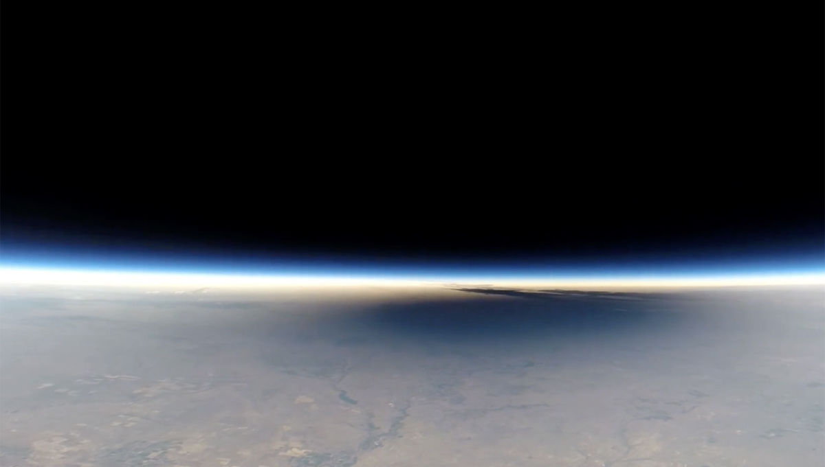 The Moon's shadow on the Earth during the August 21, 2017 total solar eclipse.... as seen from 32 km above the planet! Credit: Earth to Sky Calculus