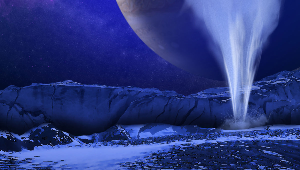 Artist's concept of a plume of water erupting from under the surface of Jupiter's moon Europa. Credit: NASA/ESA/K. Retherford/SWRI